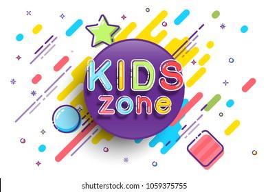 Kids Zone banner template. Vector colorfull illustration.