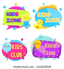 Kids zone banners. Colorful labels with children toys and symbols. Design template for baby and toddler design