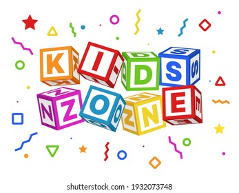 Kids zone blocks. Color geometric elements around title, children play room sign board with baby cubes font, colorful playing park or game area logo, educational toy emblem. Vector isolated concept