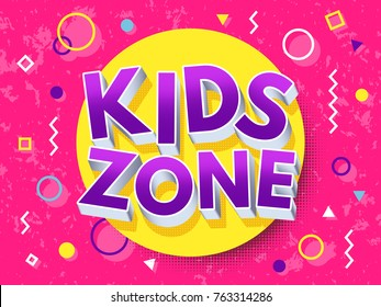 Kids zone cartoon inscription. Children playground vector concept. Game area and playroom banner for child, illustration