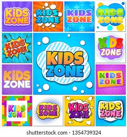 Kids zone. Children game playground banners and cute labels with cartoon lettering. School children park area vector background set
