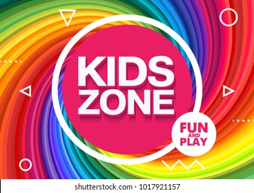 Kids Zone. Children Playground. Playground School. Fun and play. Vector illustration