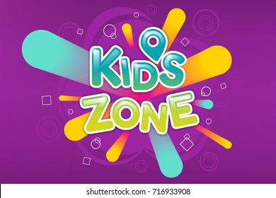 Kids zone colorful banner. Caramel text on background of colored sprays. Poster for children's playroom. Bright decoration for childish playground. Vector eps 10.