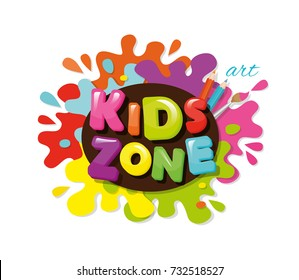 Kids zone colorful banner. Cartoon letters and paint splashes. Vector illustration.