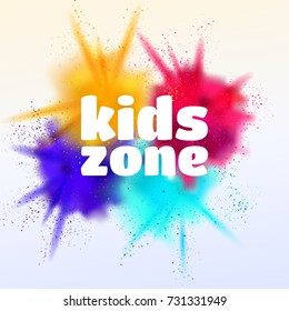 Kids zone colorful vector illustration. Children's playroom decoration.