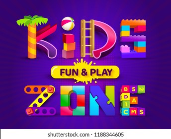 Kids zone design in cartoon style with sunburst background. Place for fun and play. Poster for children's playroom decoration. Vector illustration. Isolated on violet background.