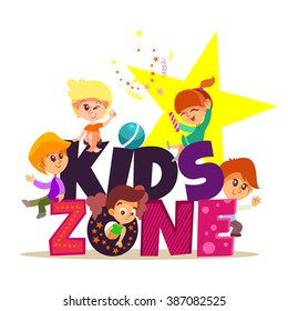 Kids zone design concept with group of little boys and girls laying together. Vector illustration isolated on white background