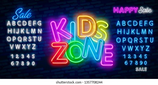 Kids Zone design template neon sign, light banner, neon signboard, nightly bright advertising, light inscription. Vector illustration