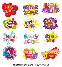 Kids zone entertainment banner set, vector illustration isolated on white background. Children playground, game room or center logo.