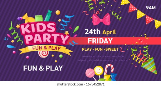 Kids zone entertainment childish banner for birthday party, childish fun party. Decoration for a children's playroom, kids game room. Party invitation, flyer template vector illustration