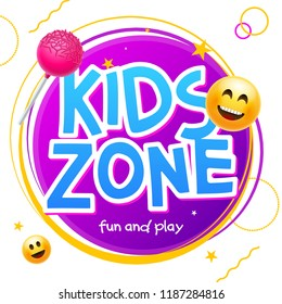 Kids Zone game banner design background. Playground vector child zone sign. Childhood fun room area.