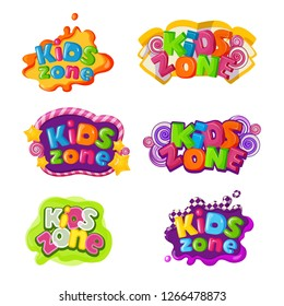 Kids zone icons with caramel lettering inscription
