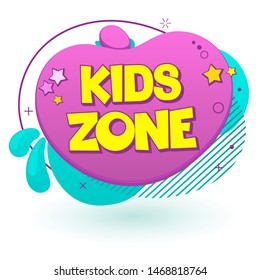 Kids Zone Label Text Banner Sign. Vector