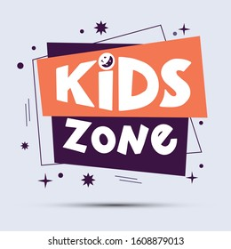 Kids zone logo, banner, sticker on geometric form. Hand drawn lettering composition in style for childrens area. Design for poster, background, postcard, banner, signboard.