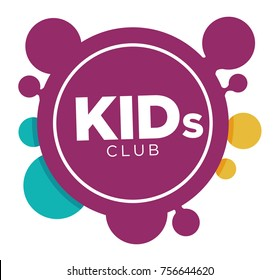 Kids zone logo template of child palm hands smiling face smiles and letters.