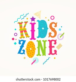 Kids zone logo. Vector emblem for children's play area. Multicolored type design with abstract shapes.