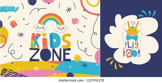 Kids zone logos / signs in cartoon style. Multicolored creative type design.