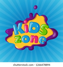 Kids zone logotype on color background