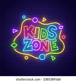 Kids Zone neon sign, bright signboard, light banner. Kids Area logo, emblem. Vector illustration