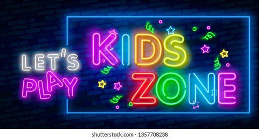 Kids Zone neon sign vector. Kids Zone design template neon sign, light banner, neon signboard, nightly bright advertising, light inscription. Vector illustration. Editing text neon sign