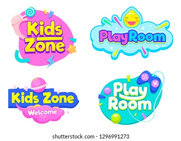 Kids Zone Play Room Label Text Banner Sign Set. Bright Typography Sticker for Child Happy Entertainment Party. Childish School Playground Decoration Badge Design Flat Vector Illustration