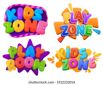Kids zone, Play zone, Play room sign. Color inscription logo, game area, bubble rainbow letters. Bright, vector inscription on a white background