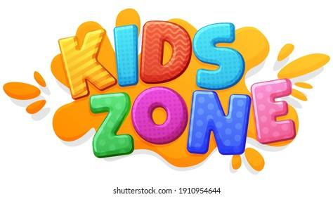 Kids zone sign. Color inscription logo, game area, bubble rainbow letters. Bright, vector inscription on a white background