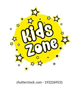 kids zone sign on white background