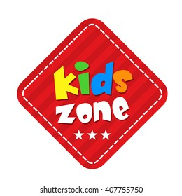 Kids Zone Vector Banner Design. Colorful vector illustration for playground, child or day care isolated on white background.