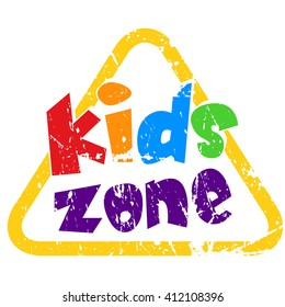 Kids Zone Vector Banner Grunge Stamp Design - Vector illustration isolated on white background