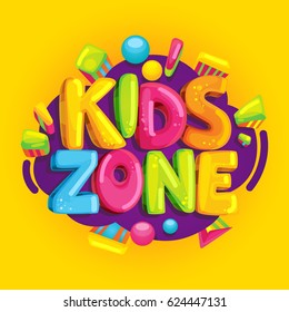 Kids zone vector cartoon banner. Colorful bubble letters for children's playroom decoration. Inscription on orange background