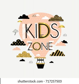 Kids zone. Vector cartoon logo for children's playroom. Banner design with cute letters, clouds and pink air balloon