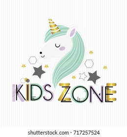 Kids zone. Vector cartoon logo for children's playroom. Banner design with cute colorful letters and  unicorn.