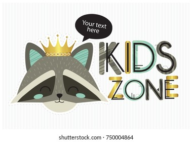 Kids zone. Vector cartoon logo for children's playroom. Banner design with cute colorful letters and raccoon