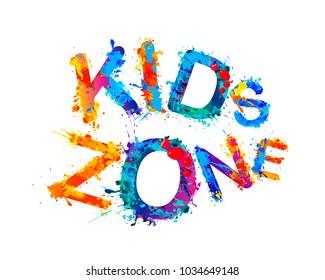 Kids zone. Vector colorful inscription of splash paint letters