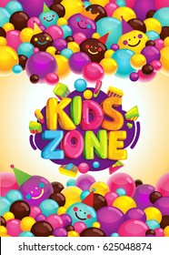 Kids zone vector poster. colorful cartoon illustration for decorating a children's playground and party. Smiley balls and inscription