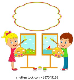 kids,boy and girl draw on an easel, illustration, vector