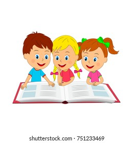 kids,boy and girls with book, illustration, vector