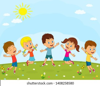 kids,boys and girls play on a summer background, illustration, vector