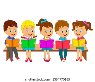 kids,boys and girls read books sit on the bench, illustration, vector