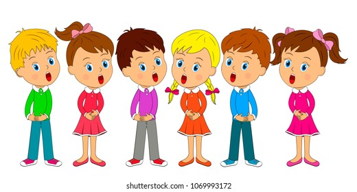 kids,boys and girls are singing, illustration,vector
