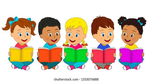 kids,boys and girls sit on the floor and read books,illustration,vector