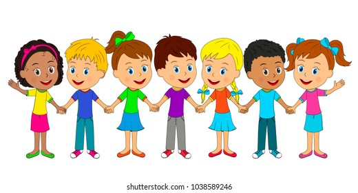 kids,boys and girls are standing and holding hands,illustration,vector