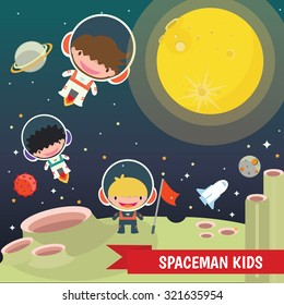 Kids,The universe kids Theme, Solar system, Planets comparison, Sun and Moon , Galaxies Classification,Kids space learning,Full vector, Moon , Lunar , Spaceman
