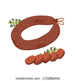 Kielbasa sausage. Meat delicatessen on white background. Slices of typical polish U-shaped smoked sausage. Simple flat style vector illustration