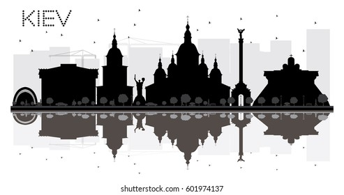 Kiev City skyline black and white silhouette with reflections. Vector illustration. Simple flat concept for tourism presentation, banner, placard or web site. Cityscape with landmarks.