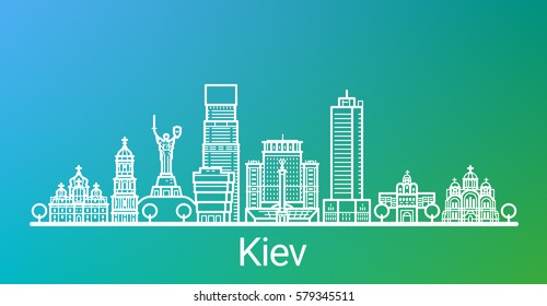 Kiev city white line on colorful background. All Kiev buildings - customizable objects with opacity mask, so you can simple change composition and background. Line art.