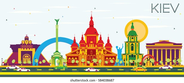 Kiev Skyline with Color Buildings and Blue Sky. Vector Illustration. Business Travel and Tourism Concept with Historic Architecture. Image for Presentation Banner Placard and Web Site.