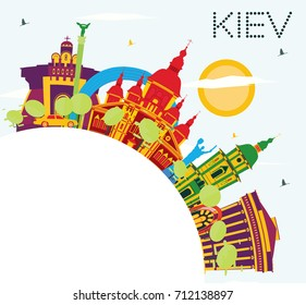 Kiev Skyline with Color Buildings, Blue Sky and Copy Space. Vector Illustration. Business Travel and Tourism Concept with Historic Architecture. Image for Presentation Banner Placard and Web Site.