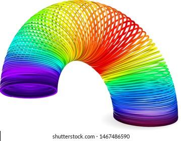 KIEV, UKRAINE - AUGUST 1, 2019: Rainbow spiral spring toy vector illustration on white background
